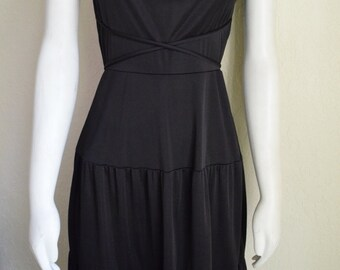 Vintage Seventies Black Strappy Tiered Flared Dress 70s, XS/Small