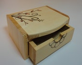 Wood Burned Jewelry Box With Mirror