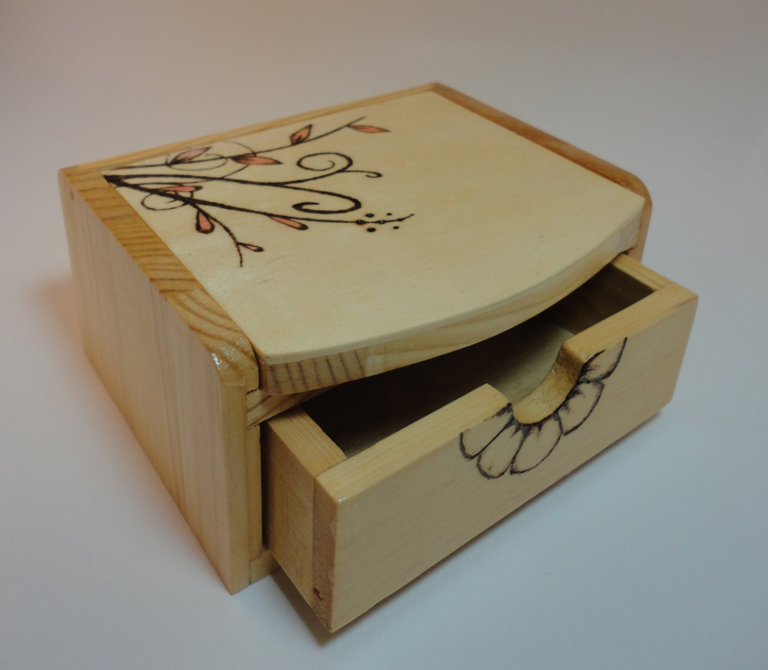 Wood burned jewelry box with mirror for Mirror jewelry box