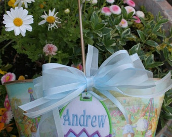 Absolutely Adorable Personalized  Easter Basket with Playful Bunnies