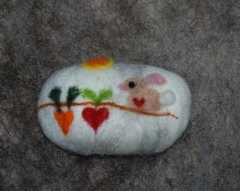 Felted Soap, Bunny Garden, Handmade, Easter Gift