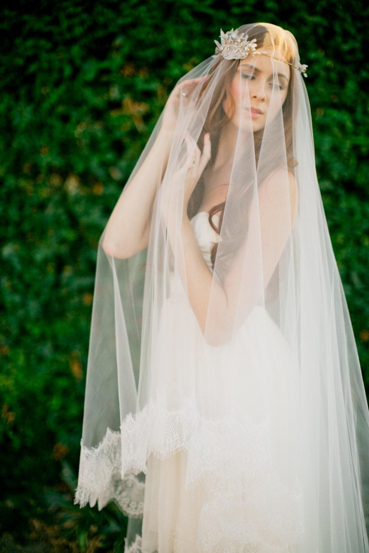 Bridal Veil Double Layer Veil Fingertip Veil Drop