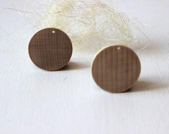 Wooden disc 40 mm / diy wooden jewelry / wooden earrings pendant / set of 10
