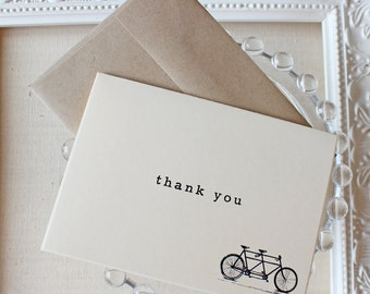 Thank You Notes set of five Tandem Bike Bicycle