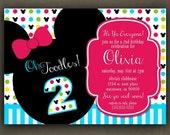 No.73 Mickey Or Minnie Birthday Invitation- Digital File