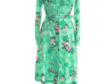 Green Emerald Dress Floral Print  Size Small