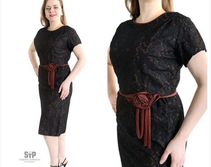 1950's Black Chantilly Lace Wiggle Dress // Black and Brown Vintage Dress // 50's Cocktail Dress
