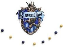 Ravenclaw Christmas Garland- Navy & Bronze Wool Felt Ball Garland- Harry Potter Birthday Party- Hogwarts School House Colors