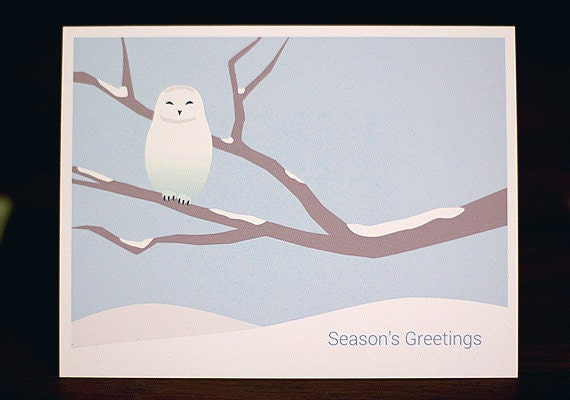 Snowy Owl Christmas Cards Minimalist Holiday Card Set Of 6