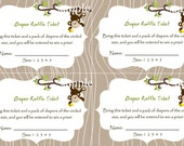 Monkey Baby Shower Diaper Raffle Card 2 per 4x6 - diaper size - 4 Up