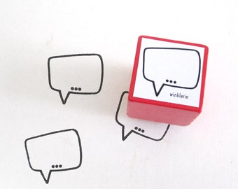 Speech Bubble Rubber Stamp // Comic Word Balloon Stamp