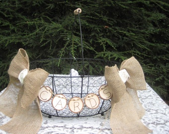 Cards Basket, Log Cards Sign, Tree Cards Sign, Wire Basket, Burlap Bows, Rustic Wedding, Burlap Wedding, Rustic Wedding Decor