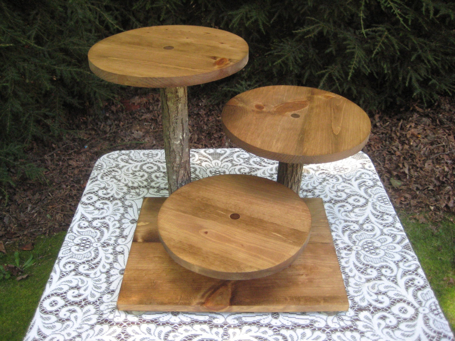 Rustic Wedding Wood Cake Stand