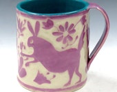 Sgraffito Carved OTOMI-Style Fantasy BUNNIES Mug LILAC Mexican Ceramic Carved Design