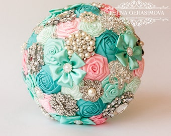Brooch Bouquet. Pink blue mint Fabric Bouquet, Unique Wedding Bridal Bouquet