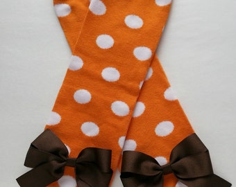 Orange with White Polka Dots Leg Warmers with Bows - Choose Bow Color - Baby and Girl Legwarmers