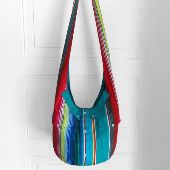 Hobo Bag, Sling Bag, Button-up Shirt, Upcycled, Stripes, Colorful, Rainbow, Hippie Purse, Cross Body Bag