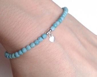 Silver Heart Charm Bracelet, Turquoise Bead Bracelet, Tiny Heart Bracelet, UK Seller
