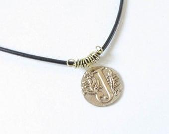 "J , Letter J necklace , Monogram Pendant ""J"", Wax seal Pendant , Personalized jewelry , J Initial , Bronze"