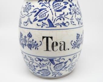 1920's German Blue & White Tea Canister Jar, Antique Flow Blue