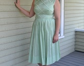 Mint 40's Dress / Cotton and Lace