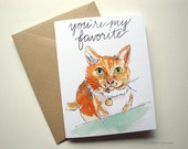 You're my favorite card love cat hand lettering illustration funny valentine