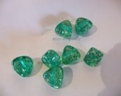 Green beads, Plastic, beads, triangle, silver flakes, acrylic, resin, 8 pcs, deep green, transparent, emerald, side drilled,