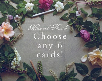 Mix and Match Card Set 6pc Blank Woodland Note Cards A2 Stationery