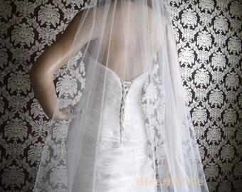 Couture Sheer Silk Tulle Sweep Length Cut Edge Sheerest Silk Tulle Bridal Veil by IHeartBride V-MA72  Ivory or White Custom Silk Veil