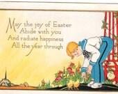 Vintage Easter Postcard, Art Deco Post Card, Holiday Greeting, Boy, Easter Chicks, Church, Flower Trellis, Old Unused 1920s Easter Postcard