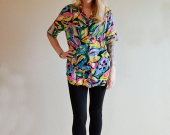 1980s MED neon Hawaii print color splash button down blouse