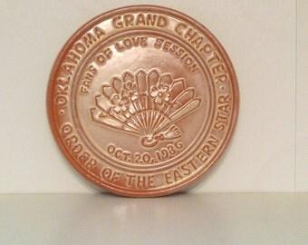 Frankoma Fans of Love Trivet Love 1986 Vintage Order of the Eastern Star 1980s Oklahoma Grand Chapter OOES Desert Gold Glaze Sapulpa Pottery