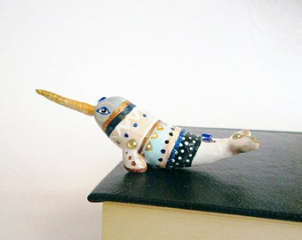 Narwhal figurine, Navajo art, One of a Kind