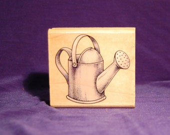 Watering Can Rubber Stamp. Wooden handle stamp. New.