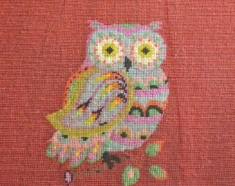 Vintage Owl Needlepoint Wall Hanging Orange Aqua