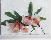 "Sketch Painting Flower ""Rhodies""  small acrylic on masonite  panel"