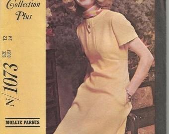 Vintage 1960's Mod Dress Sewing Pattern McCall's 1073 34 Bust Uncut