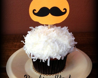 Cupcake Toppers-12 Pumpkin with Mustache-Little Man Party-Mustache Party-Mustache on a Stick-Halloween-Halloween Party-Mustache Theme-Party