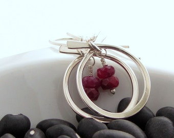 Natural Ruby Silver Earrings Gemstone Silver Hoop Earrings Modern Gemstone Earrings July Birthstone Earrings Item E853