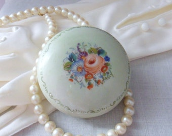 Victorian Cosmetic Dish, Antique Face Cream Jar, Porcelain Covered Cabbage Rose Dish
