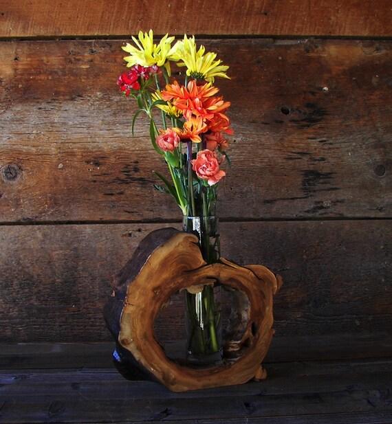 Rustic hollow log vase aspen wood home d cor by for Aspen logs for decoration