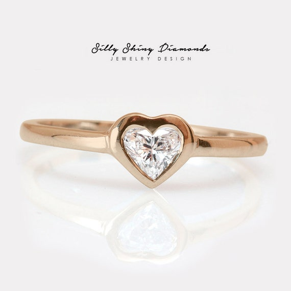 Rose Gold Heart Shape Diamond Solitaire by SillyShinyDiamonds