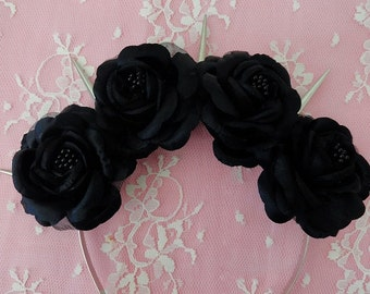Black Dahlia-Pastel Goth Silk Black Roses and Silver Spikes flower crown Lana Del Rey