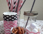 Black & Pink Chevron Small Baking Cups or Straw Assortment