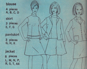 1960s Jacket, Blouse Skirt & Pantskirt Pattern Simplicity 7485 Size 12 Uncut