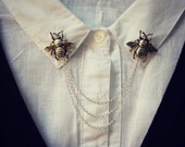 Bee collar pins, collar chain, collar brooch, lapel pin, bee pin, bee brooch