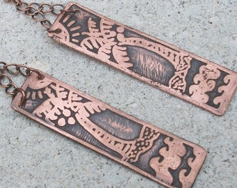 Palm Tree Earrings; Etched Copper Earrings with Tropical Design; long dangly copper earrings
