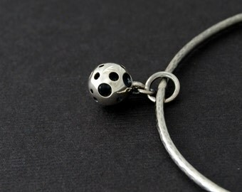 Little Moon Bangle - sterling silver cast hollowed sphere bangle
