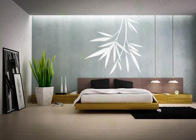 Bamboo wall decal bedroom wall art living room decor decals - Apartment living room decor ...