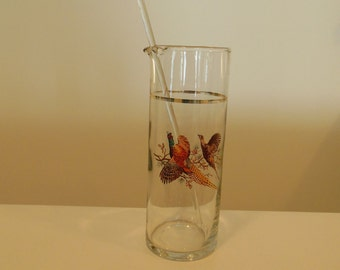 Colonial Pheasant Martini Cocktail Mixer with Glass Stirrer Princess House Pitcher